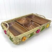 Vintage Wicker Basket Tray Casserole Server w/ Straw Flowers and Wood Dishes