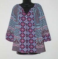 Figueroa & Flower women's 3/4 sleeve multicolor boho peasant top, size XL, EUC