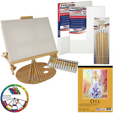 35-Piece Oil Painting Table Easel Set with Paint, Canvas, Brushes & Accessories