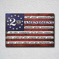 2nd Amendment Brand Vintage American Flag USA Second 2A Tin Sign Metal Sign