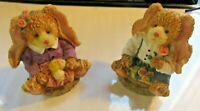 Lot of 2 Vintage Porcelain Teddy Bear Easter Figurines