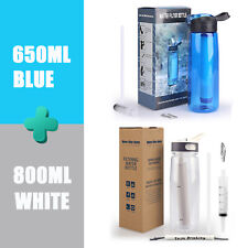 2 pack 650ML + 800ML Sports Water Filter Bottles Outdoor 4-Stage Filter Straw