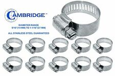 10 PC STAINLESS STEEL HOSE CLAMPS 14MM TO 27MM OPENING SIZE #10 STANDARD VACUUM