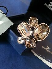 Swarvoski Clear & Graphite Gemset Cocktail Ring. Size 55 (N)