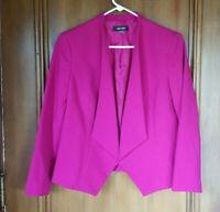 Women's Size 6 NINE WEST Fuchsia Pink Blazer Cut Jacket, Open Front, Lined