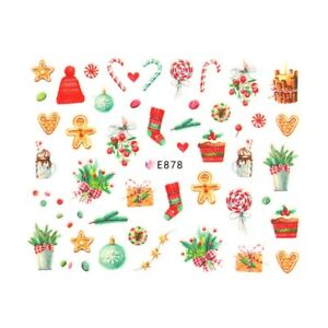 Christmas Nail Art Stickers Decals Gingerbread Candy Cane Baubles Stocking E878