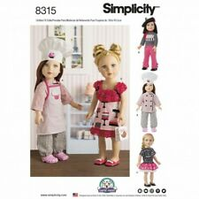 """Simplicity 18"""" Doll Clothes French Chef Cook Outfits Toys Sewing Pattern 8315"""