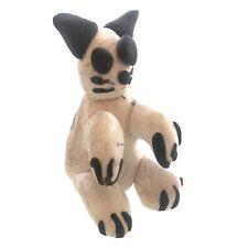 """Handmade Clay Cat Fetish Black & White 1.5"""" Tall - Outsider Art"""