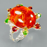 Beauty Color Gem Natural Amber 925 Sterling Silver Ring Size 9/R89404