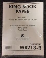"Sparco/kleerfax Reinforced Filler Paper, Wide Rule, 11""x8-1/2"", 100/PK, WB213R"