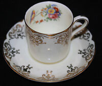 ANTIQUE AYNSLEY ART NOUVEAU FLOWERS, GOLD DEMITASSE CUP AND SAUCER SET