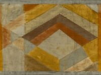 Wallpaper Border Large Wide Modern Diamonds Geometric Grey, Gold, Rust, Taupe