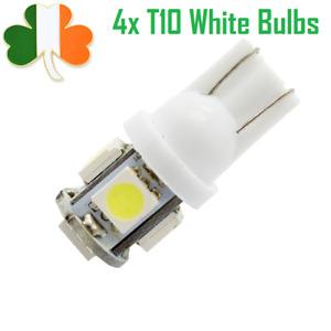 4x T10 White LED Wedge Lights Bulbs Car 5-SMD 5050 DC 12V W5W Parking Lamp