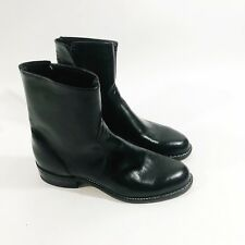 Vtg Texas Brand Black Roper Zip Western Leather Cowboy Boots sz 6.5 Made In USA