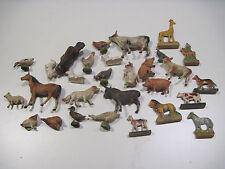 Antique German Composition Lithograph Farm Animal Dollhouse Lineol Elastolin Lot