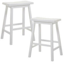 "Gaucho Set of 2 Kitchen 24""H Counter Height Bar Saddle Stools Solid Wood White"