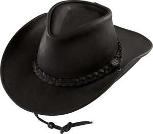 Henschel Black Large Weekend Walker 1154 100% Leather UPF 50 Hat