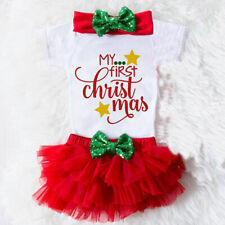3PCS Infant Baby Girl Christmas Outfit Clothes Tops Romper+Tutu Shorts Pants Set