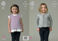 King Cole Girls Lacy Cardi Top Galaxy DK Yarn With Sequins Knitting Pattern 4407