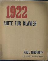 """Hindemith : """" 1922 """" Suite für Klavier, alt übergroß"""