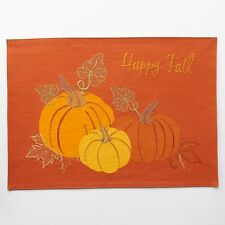 """Harvest Season """"Happy Fall"""" Embroidered Pumpkins Placemat 13 x 18 inches Autumn"""