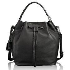 Tumi NoHo Georgie Black Pebbled Leather Bucket Bag Drawstring Purse Tote Handbag