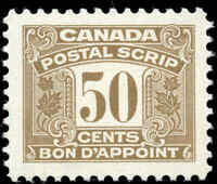 Canada Mint H 1967 F-VF Scott #FPS54 Third Issue Postal Scrip 50c Stamp