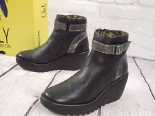NIB - FLY London Leather Wedge Ankle Boots - Yado - Black - EU 37 US 6 - 6.5