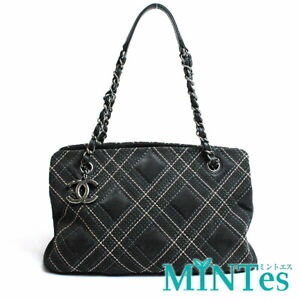 Auth Chanel Suede Chain Shoulder Bag Gray Black Stitch Check [Used]