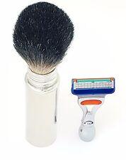 Travel Badger Hair Stainless Handle Shaving Brush & Mini Gillette Fusion Razor