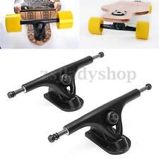 2X Professional Universal Longboard Skateboard Truck Hollow Black With Absorber