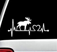 Moose Elk Heartbeat Lifeline Decal Sticker Car Window Deer Antlers Rack Hunting