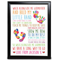 Personalised Godmother Gift Christening Hand Feet Birthday Christmas Print