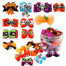 20/100pcs Cute Halloween Skull Bat Pumpkin Pet Cat Dog Hair Bows Rubber Bands