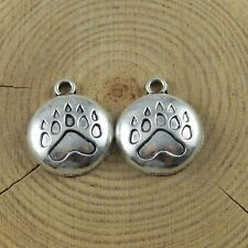 51663 Vintage Silver Bear Paw Print Alloy Necklace Pendant Charms Jewelry 40pcs