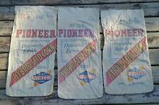 Lot of 3 Antique Pioneer Hybrid Seed Corn Muslim Bag burlap bags FREE SHIP!!