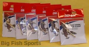 6 EAGLE CLAW HAT HOOK NEW! Hat Pin/Tie Clasp SIX GOLD PLATED FISH HOOK HAT PINS