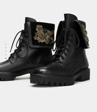 ZARA SOLD OUT Black New Embroidered Leather Biker Boots   UK 7 EU 40 USA9 RPP 99