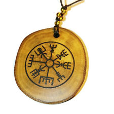 Vegvisir Nordic Compass Necklace Wooden Charm Handmade Engraved  Norse Viking