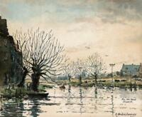 ROBERT STANDISH-SWEENEY Watercolour Painting THE OLD CANAL CHISWICK