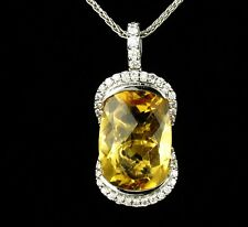DESIGNER SIGNED NATURAL 6.38ctw CITRINE & DIAMOND 14K WHITE GOLD DROP PENDANT