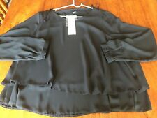 Brand New Ladies Black Layered Long Skeeve Top Size 18