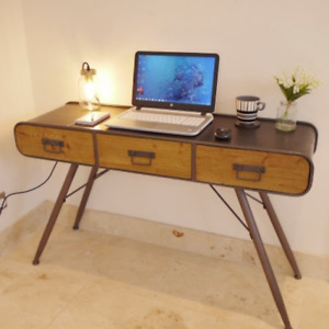 Industrial Style Desk Metal Frame Urban Retro Console Table Metal Wood