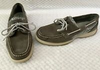 Sperry Top Sider Gray Leather Sequin Boat Shoes #9775867 Womens Sz 9.5 VGUC