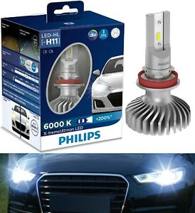 Philips X-Treme Ultinon LED 6000K H11 Two Bulbs Head Light Low Beam Replace OE