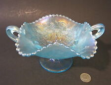 RARE NORTHWOOD ICE BLUE Carnival Glass FRUITS & FLOWERS Bonbon Candy Dish Bowl