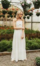 Anthropologie Emory Park White Cotton Vintage Style Maxi Dress L Large NWT NEW