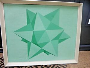 Mid Century ORIGINAL c.1950's Geometric Abstraction Oil on Canvas Painting.