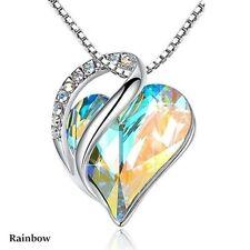 Women Silver Love Heart rainbow Zircon Pendant Necklace Valentine's Day Gifts