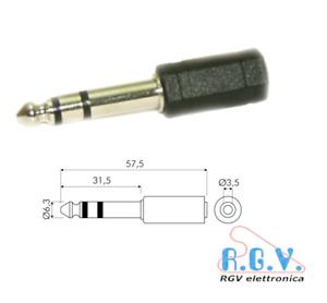 Adattatore da jack spina maschio 6,3mm stereo a presa femmina 3,5mm stereo 13052